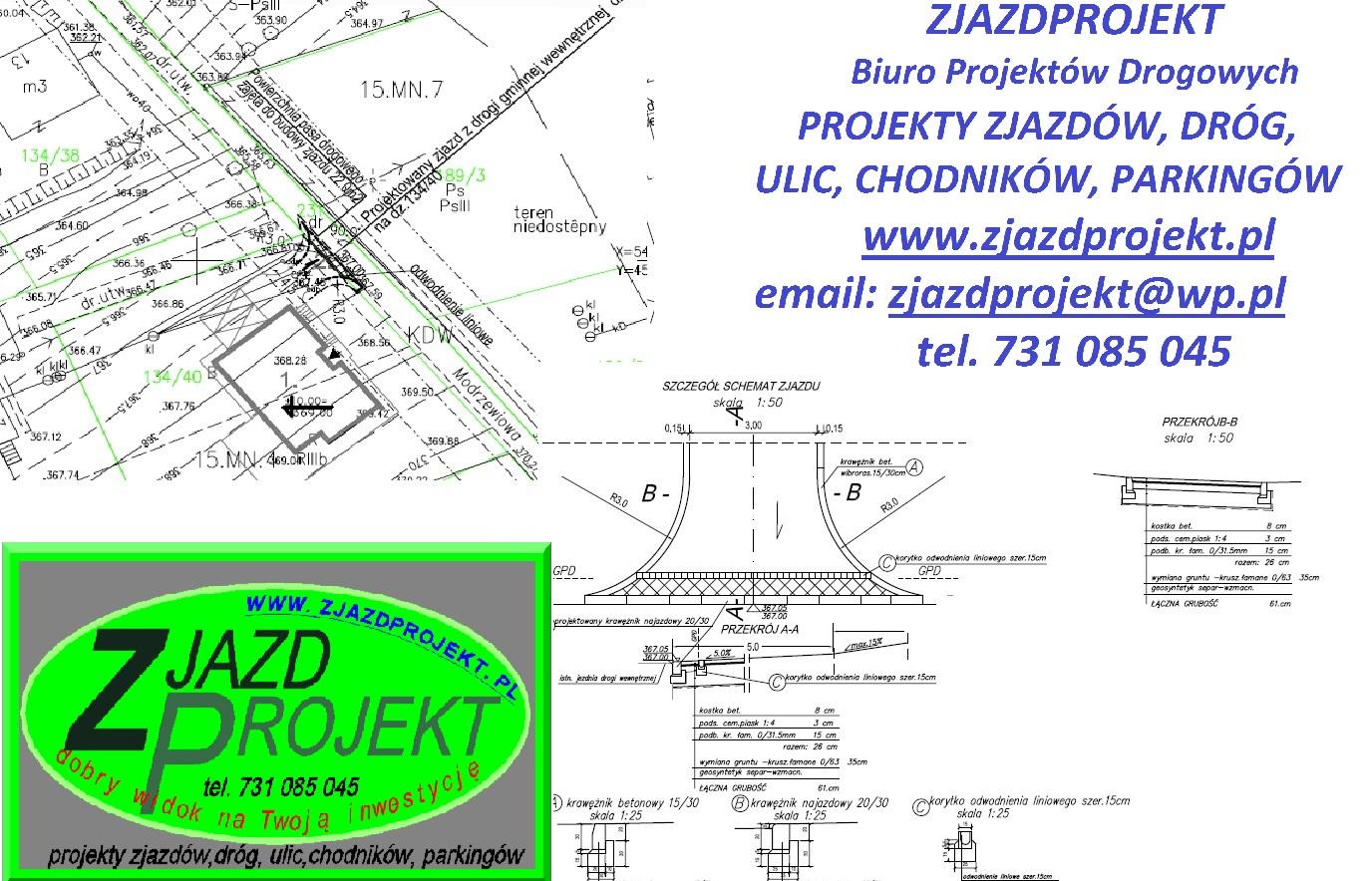 Znane Projekt zjazdu z drogi - ZJAZDPROJEKT-projekty drogi, chodnika  UU-52