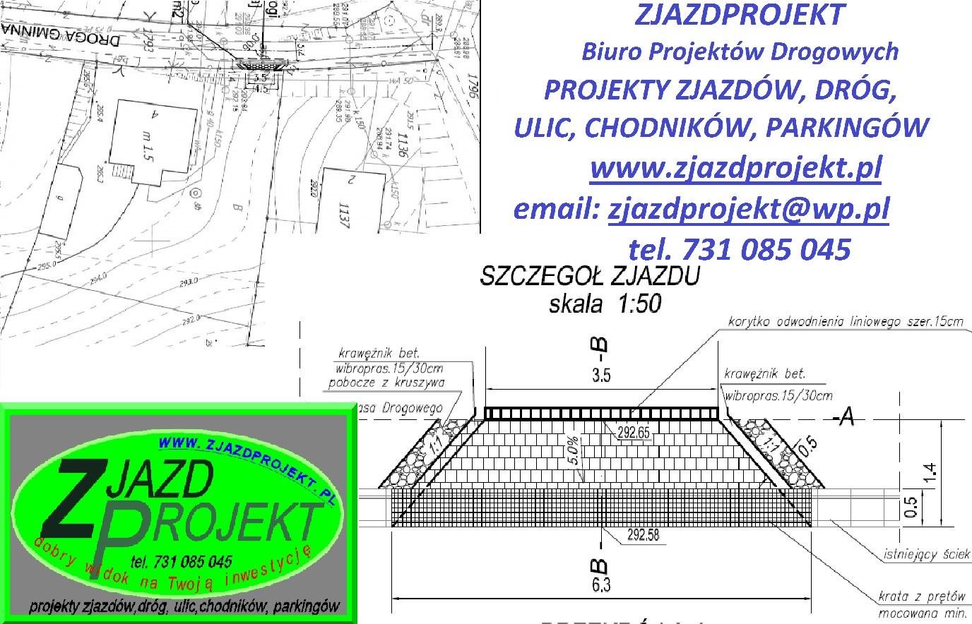 Góra Projekt zjazdu z drogi - ZJAZDPROJEKT-projekty drogi, chodnika  RT-35